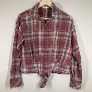 C&C California Flannel Tie Front Long Sleeve Shirt M
